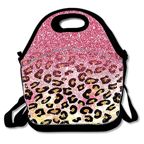 Insulated Lunch Bag Purple Glitter Pattern lunchbox Waterproof Cooler warm Bags Reusable Tote Box