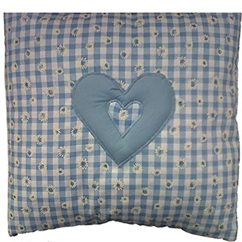 Daisy Vichy bleu pâle avec cœur style shabby chic Housse de coussin 40,6cm