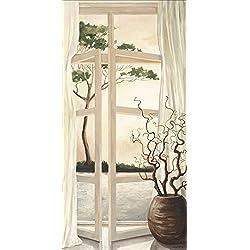 Artland Qualitätsbilder I Wandbilder Selbstklebende Premium Wandfolie 75 x 150 cm Landschaften Fensterblick Malerei Creme A5LY Fensterbild Toskanischer Sonnenuntergang