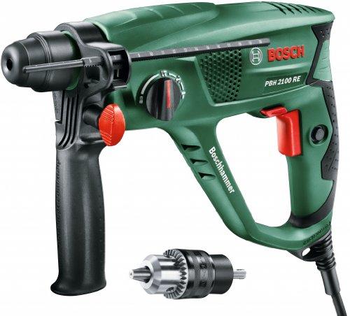 Bosch Bohrhammer PBH 2100 SRE (SDS-Adapterbohrfutter, Tiefenanschlag, Zusatzhandgriff, Koffer, 550 Watt)