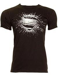 DC Comics Superman L'Homme D'Acier Érodé T Shirt (Noir)