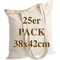 Sac en coton de qualité 25 pièces 145 grammes taille 38x42 cm poignées longues 70 cm nature 100% coton. Le modèle le plus populaire.