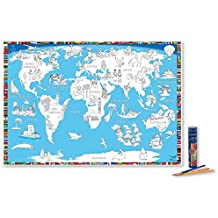 """Poster """"Malkarte Welt"""": mit 12 hochwertigen Buntstiften in dekorativer Buntstiftdose"""