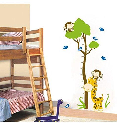 Colorfulword Growth Chart Giraffe Affe Höhe Diagramm-Wand-Vinyl-Abziehbild-Dekor-Aufkleber-entfernbare, Super für Kinderspielzimmer Mädchen und Jungen Kinder Schlafzimmer (AY867) (Wandtattoo Wachstum Giraffe Chart)
