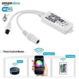 Simfonio LED Wifi Controller - LED Strip Controller Arbeitet mit Alexa, Google Home, IFTTT, Wireless Smart Phone Gesteuert für 5050/3528 SMD RGB LED Streifen, LED Stripes