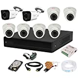 CP PLUS Wired 8 Channel HD DVR 1080p , Outdoor Camera 2.4 MP 2Pcs, Indoor Camera 2.4 MP 6Pcs, 1 TB Hard Disk, Full Combo Set