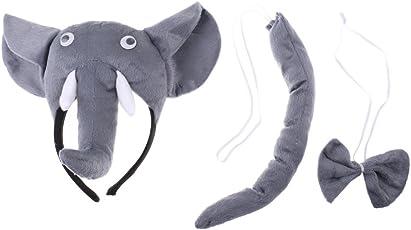 Non-brand Kids Animal Costume Set Accesoory Elephant Headband Bow Tie Cosplay
