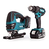 Makita DLX2134MJ 18 V Li-ion LXT 2 Piece Kit comprising Combi Drill, Jigsaw 2 x 4.0 Ah Li-ion Batteries and Charger in a Makpac Case
