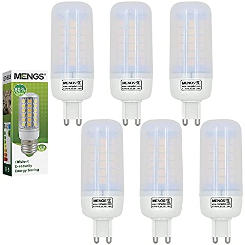 MENGS® Pack de 6 Bombilla lámpara LED 7 Watt G9, 48x 5050 SMD, blanca fría 6500K, AC 220-240V