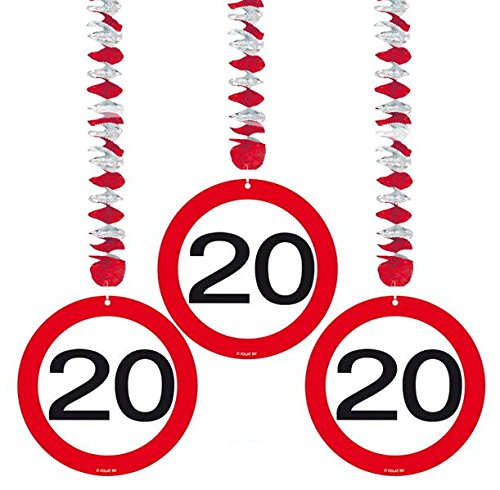 20 Geburtstag Deko Rotorspiralen mit Zahl 20 3er Set Hängende Dekoration zum 20er Geburtstag Party oder andere Anlässe - 2
