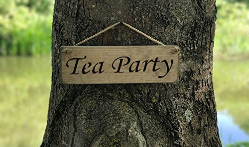 Alice in Wonderland/Zitat-Tea Party Schild Holz HOME DECOR Geschenk Schild handgefertigt von Vintage Produkt Designer Austin Sloan