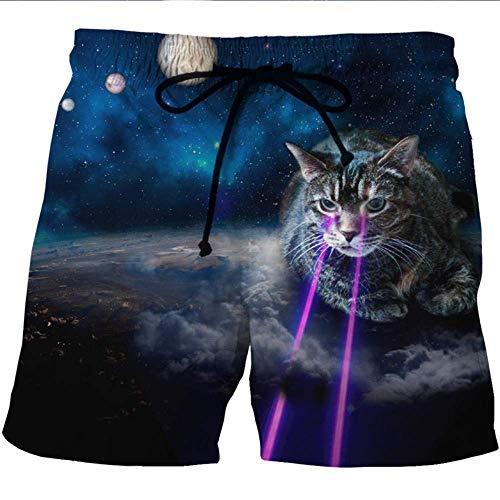 Jungen Surfbrett Swim Trunk (Hrzv Männer Strand Shorts Wassersport Hosen Nette cat Print Galaxy Running Short Quick Dry Plus größe Schwimmen Surfbrett bademode y632 4XL)