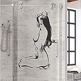WHDXYM Applique de Verre de Salle de Bains Sexy Femme Nue Fille Vinyle Autocollant de Salle de Bains décoration décoration décoration de la Chambre Applique42x67 cm