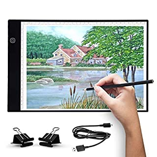 Artists Light Boxes A4 Ultra-Thin Portable Tracing LED Drawing Pad, USB Power Cable Dimmable Brightness LED Artcraft Tracing Light Pad Box for Artists Drawing Sketching Animation (A4 New)