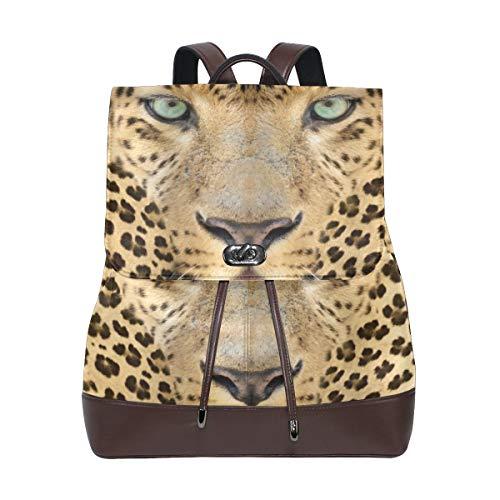 AIMILUX Animal depredador Leopardo con Piel manchada y expresión Enojada Fauna Salvaje,Mochila de Estudiante Retro Bolso de Cuero Bolso Casual de Mujer