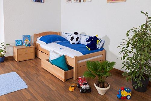 "Kinderbett / Jugendbett ""Easy Sleep"" K1/2n inkl. 2 Schubladen und 2 Abdeckblenden, 90 x 200 cm Buche Vollholz massiv Natur"