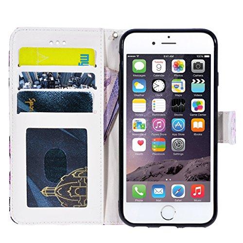 WE LOVE CASE Coque iPhone 6, Étui a Rabat de Protection Housse Coque iPhone 6S Cuir, Coque avec Rabat Anti Choc Motif Fleur Girly Fonction Support Stand Fente Carte et Magnétique Fermeture Stitch Flip papillon rose