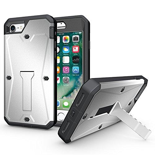 CASYLT iPhone 5 / 5s / SE Panzer Outdoor Case Hülle [Fullbody 360 Grad mit Displayschutz-Folie] Silber Hybrid Rundum-Schutz Handyhülle mit Standfuß