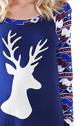 Femme T Shirt Manches Longues Col Rond Chic Automne Hiver Noël Des Wapitis Imprimé Épissure Skinny Elégante Fashion Mignon Doux T-Shirts Tee Shirt Shirts Tops Bleu