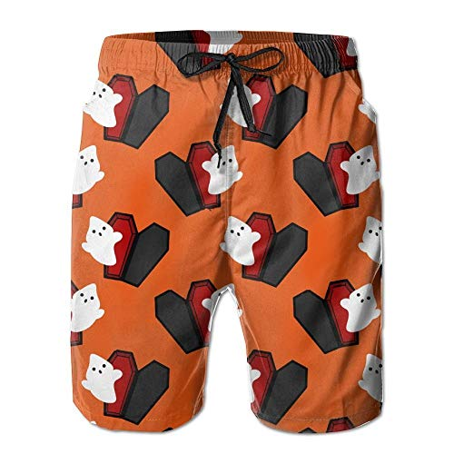 Herren Sommer Cartoon Ghost Sarg Halloween Quick-Dry Running Badehose Boader Shorts Strand Badeanzug Sport, Größe L