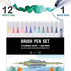 Stationery Island Brush Pen - Wasserfarben Pinselstift 12 Farben + 1 Wassertankpinsel