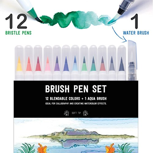 Brush (Stationery Island Brush Pen - Wasserfarben Pinselstift 12 Farben + 1 Wassertankpinsel)