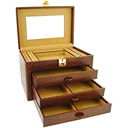 3 drawer leather jewelry box engraved coconut Size: U Color: CHESTNUT