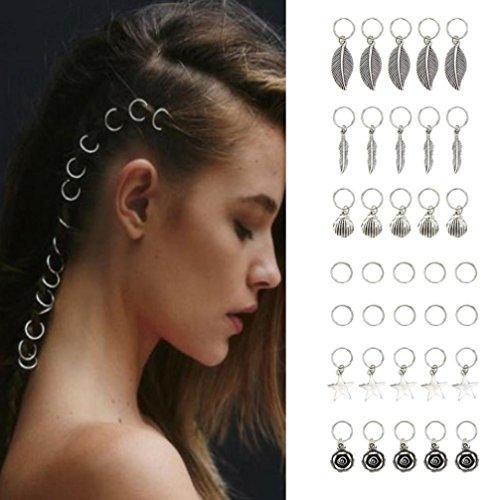 IGEMY 20 PC DIY Hip-Hop Braid Hair Clip Women Fashion Silver Ring Hair Pin Accessory