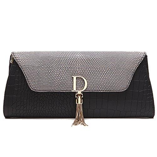 borse in pelle delle donne ad alta capacità marche bag borsa da sera in pelle frizione catena pochette nappa pacchetto busta ( Colore : Bianca ) Grigio