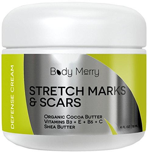 Intensive Stretch Mark Cream (Body Merry Stretch Marks Cream - Daily Moisturizer with Organic Cocoa Butter + Shea + Plant Oils + Vitamins to Prevent, Reduce and Fade Away Old or New Scars - Best for Pregnancy, Men/ Bodybuilders)