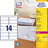 AVERY Zweckform L7163-100 Adress-Etiketten (A4, 1.400 Stück, 99,1 x 38,1 mm, 100 Blatt) weiß