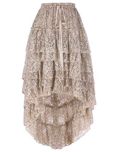Belle poque® donne sono amelia steampunk cordoncino vita arruffato torta gonna it227 (l~3xl (fit waist 33inch~46inch), stile pizzo marrone)