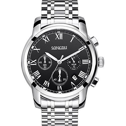 SONGDU-Herren-Quarz-Unisex-Armbanduhr-Schwarz-Zifferblatt-Silber-Edelstahl-Armband-Chronograph-Analog-Kalender-Datum-Anzeige-Leuchtende-weie-Hnde
