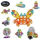 AMZtronics Blocchi Magnetici 92 Pezzi Ispirati alla Costruzione Giocattoli Educativi 3D Colore dell'arcobaleno Perfetto Giocattolo e Regalo per Bambini