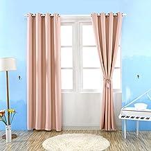 Kinlo - 2 piezas Cortina opaca con ojales 145 x 245 cm - cortina para sala de estar y el dormitorio - Rosa