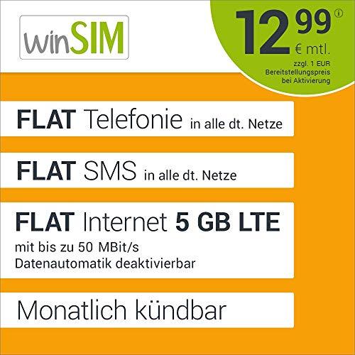 winSIM LTE All 5 GB Allnet Flat - monatlich kündbar (FLAT Internet 5 GB LTE mit max. 50 MBit/s mit deaktivierbarer Datenautomatik, FLAT Telefonie, FLAT SMS und FLAT EU-Ausland 12,99 Euro/Monat)