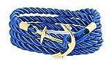 Geralin Gioielli Bracciale Uomo con un ancora d'oro blu elettrico Handmad