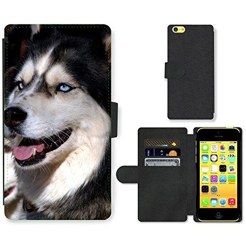 Folio Schutzhülle // V00003462 Huskys // Apple iPhone 5C (Iphone 5c Wallet Case Husky)