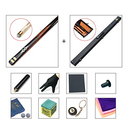 ZXH HETAO Pool Queues, Esche handgefertigt 3/4 Schläge durch Stöcke 10-mm-Spitze Black Eight Heads Snooker Single Black 8 Clubs Amerikanisches Billard mit Rod-Gehäuse Indoor (Farbe : A5)