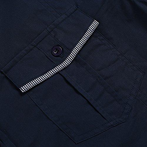 HOTOUCH Herren Kurzarm Hemd Freizeithemd Slim Fit Hemd Businesshemd Typ1-Marineblau