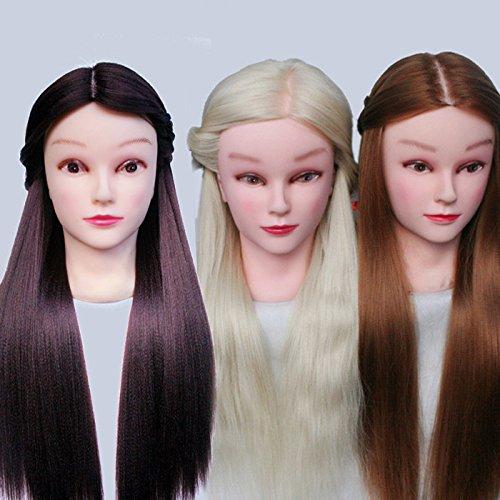 topbeauty 3 synthétique Hiar pratique de coiffure de formation Tête Poupée Mannequin avec pince Blond Marron Doré