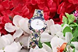 MARCLEX Quartz Movement Analogue Display Off-white Dial Pink Floral Rose Printed Design Royal Blue Strap Women's Watch
