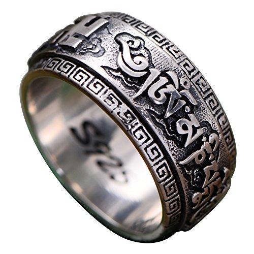FORFOX Herren Damen Vintage 925 Sterling Silber Buddhismus Om Mani Padme Hum Drehring Band Ring Schmuck 10mm Größe 66