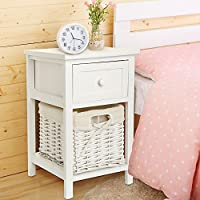 Quieting Shabby Chic Bedside Table Storage Unit White With Wicker Storage Basket