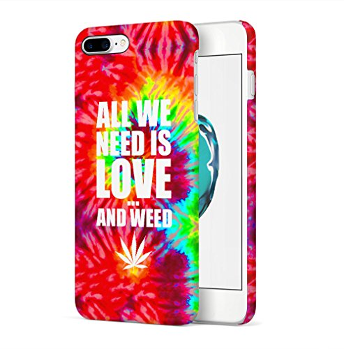 Weed Stoned Marijuana Leaves Apple iPhone 7 / iPhone 8 SnapOn Hard Plastic Phone Protective Custodia Case Cover All We Need Is