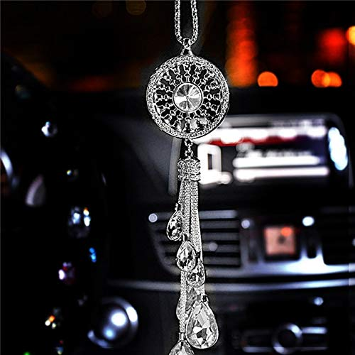 QCGJEL Auto hängen Anhänger Crystal Diamond Dekoration Suspension Ornament Charms Automobile Rückspiegel Dangle Decor Transparent -