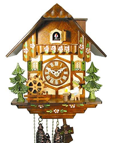 Original Schwarzwälder Kuckucksuhr/Schwarzwald-Uhr (zertifiziert), Schwarzwald-Haus, 1-Tag-Werk, mechanisch, Musik, beweglicher Bier-Trinker, Mühl-Rad, Kamin-Feger, Kukuks-Uhr, Kuckuks-Uhr - Kamin Uhr
