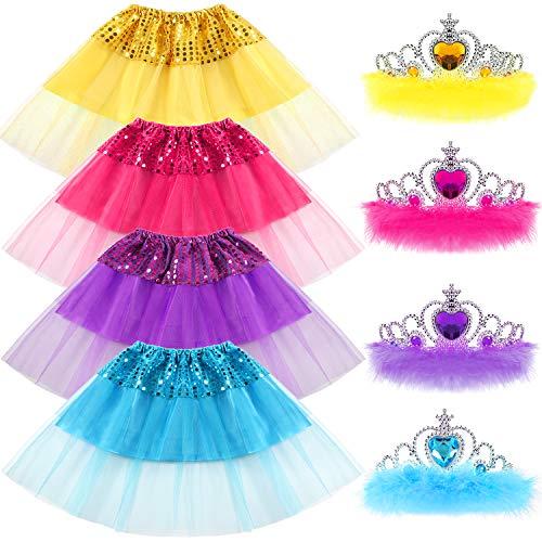 20ef5e106 vamei Jupe Tutu Fille, 8pcs Girl 's Sequin Skirt Jupe et Crystal Tiara  Couronne Ensemble Sparkling Kid Dress-up Tulle Tutu Jupes Vêtements Fille  ...