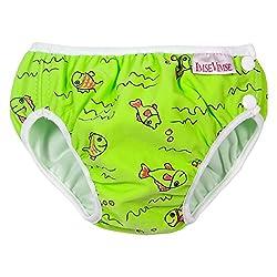 ImseVimse, Badehose für Babys, Schwimmwindel M 7-10kg Grüne Fische