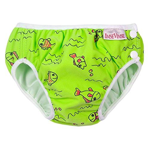 ImseVimse Schwimmwindeln für Jungen, Aquawindel, Badewindelhose Seepferd, grüne Fische, Gr. NB 4-6kg